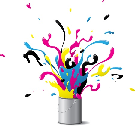 Illustration of an explosion of CMYK paint Çizim