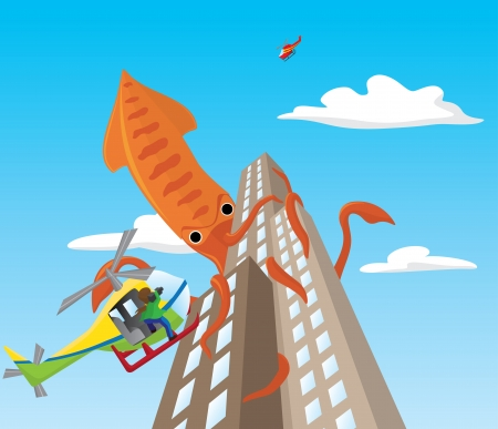 Giant squid attacks skyscrapers