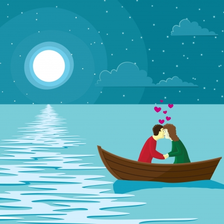 Vector illustration of a couple in love on a boat Imagens - 20665165