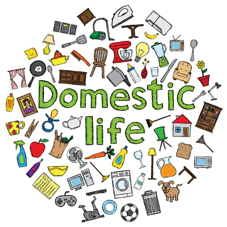 Domestic life vector illustration with several home related doodles