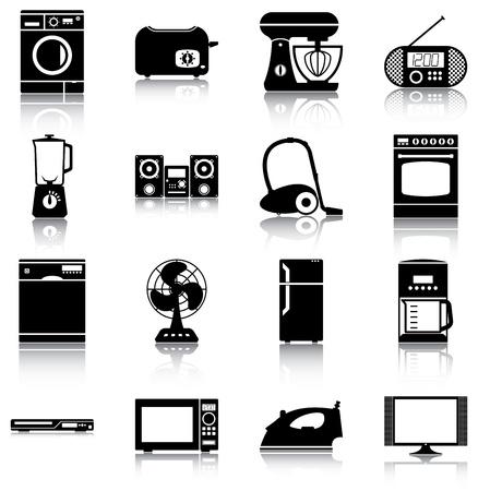 16 iconen / silhouetten van huishoudelijke apparaten. Vector Illustratie