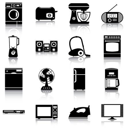 16 icons silhouettes of home appliances.