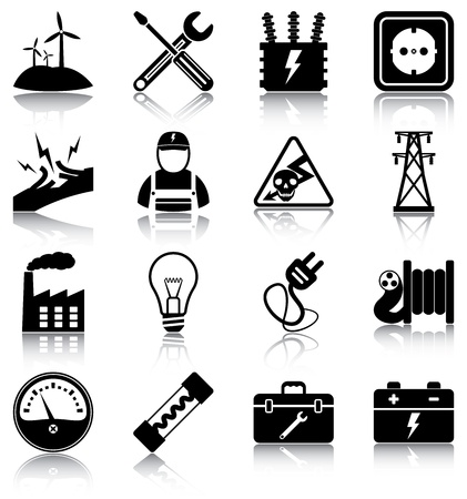 power grid: 16 electricity related icons silhouettes.