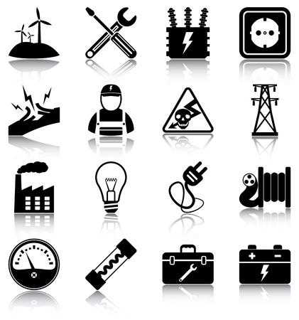 16 iconos / siluetas relacionados con la electricidad.