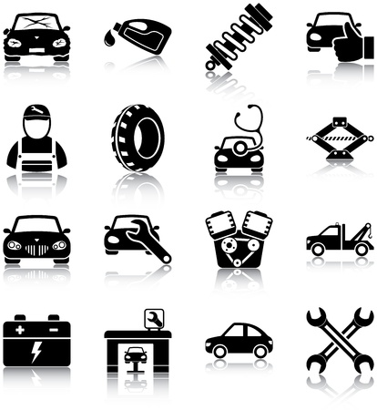 inspecting: Auto mechanic related icons Illustration