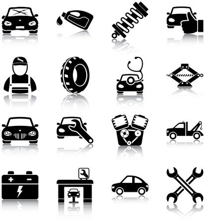 mekanik: Bilmekaniker relaterade ikoner Illustration