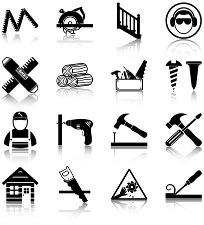 carpintero: Iconos relacionados con la carpinter�a Vectores