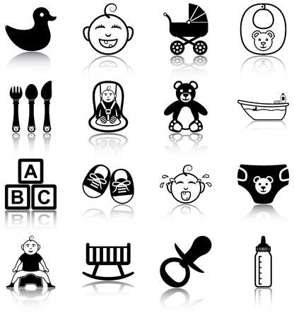 재료: 아기 관련 아이콘 일러스트