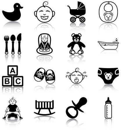 stuff toys: Baby related icons Illustration