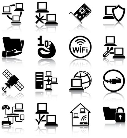 антенны: Компьютерные сети соответствующих значков Иллюстрация