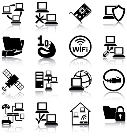 Computer networks related icons Stock Vector - 20887039
