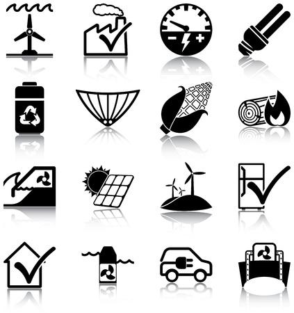 consommation: Les �nergies renouvelables et les ic�nes li�es � l'efficacit� �nerg�tique Illustration