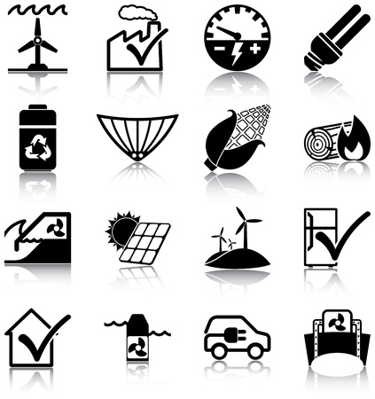 solar house: Renewable energies and energy efficiency related icons