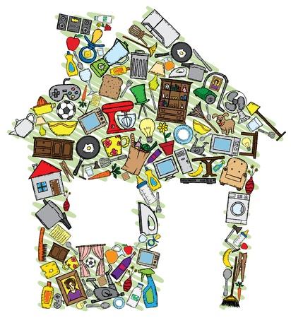 Ilustración de la casa hecha con varios garabatos relacionados con el hogar