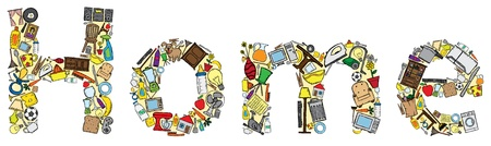 Illustration du mot fait maison avec plusieurs doodles liés à domicile Vecteurs