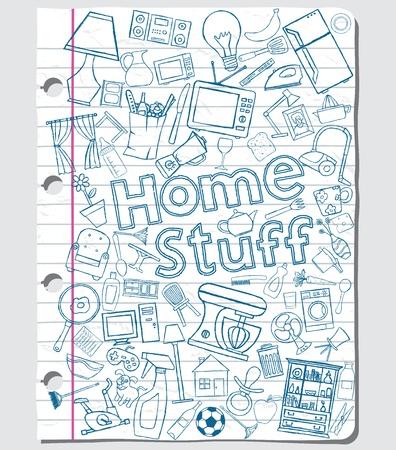 Home stuff doodles on a paper sheet