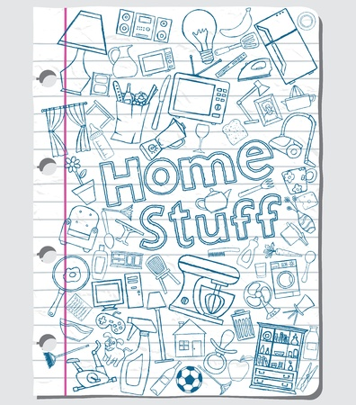 Home stuff doodles on a paper sheet  Vector