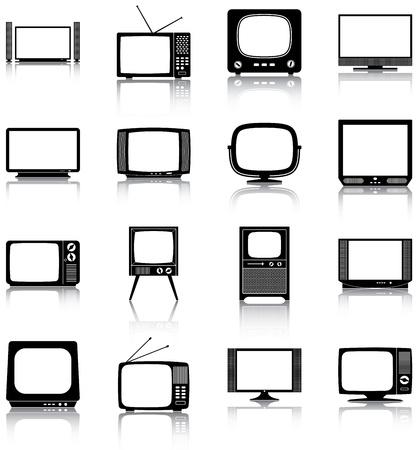 16 iconos de la televisión retro y moderno Ilustración de vector