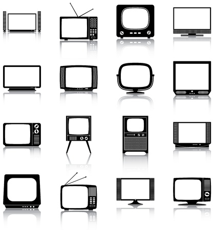 16 icons of retro and modern televisions   Vector