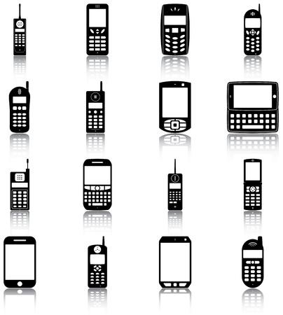 16 iconos de teléfonos móviles retro y moderno