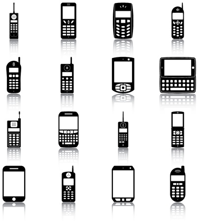 16 icons of retro and modern mobile phones
