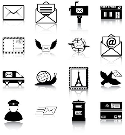 tarjeta postal: 16 iconos relacionados electrónico Vectores
