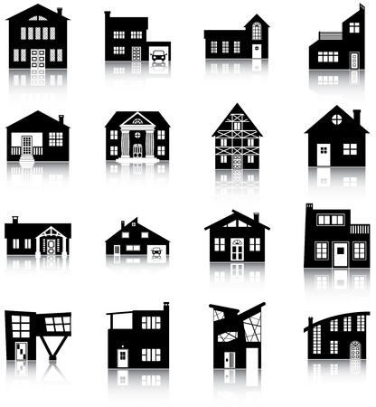 16 silhouettes of different types of houses