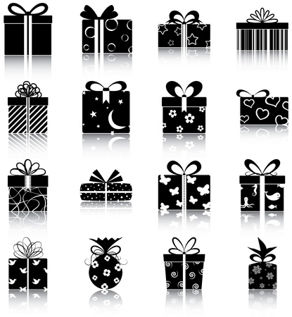 16 icons of gift boxes
