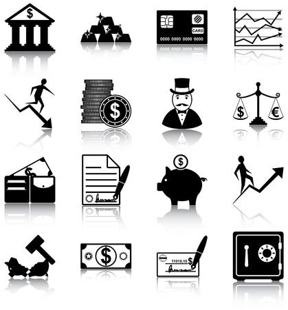 16 finance gerelateerde pictogrammen Stock Illustratie