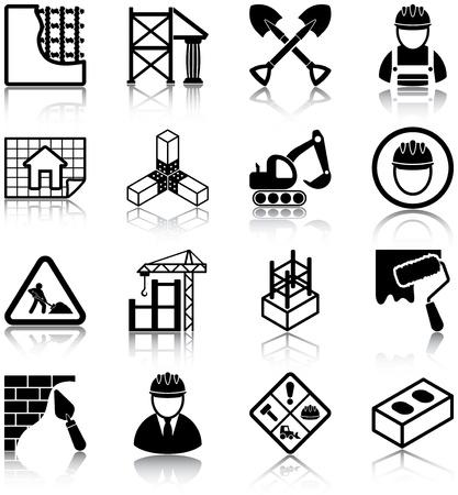 建設: 建設関連アイコン  イラスト・ベクター素材