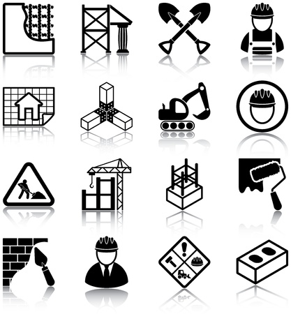 plastering: Construction related icons  Illustration