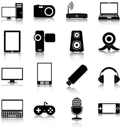 electronic devices: 16 icons of electronic devices