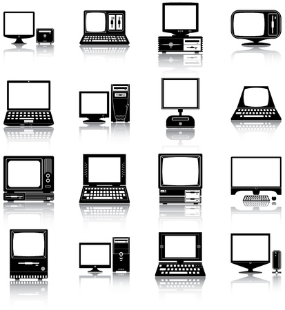 16 icons of retro and modern computers  Çizim