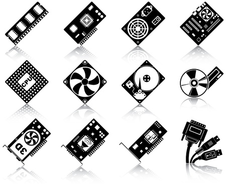 12 icons of computer hardware