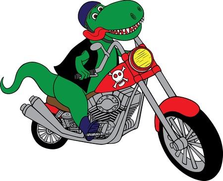 ilustración de un dinosaurio de T-rex en una motocicleta