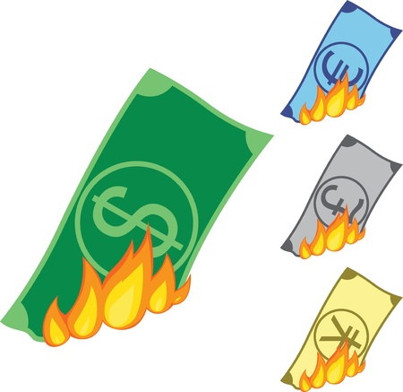 Dollar, Euro, Pound and Yen bills burning
