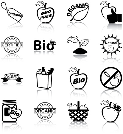 grocery bag: Organic food related icons Illustration
