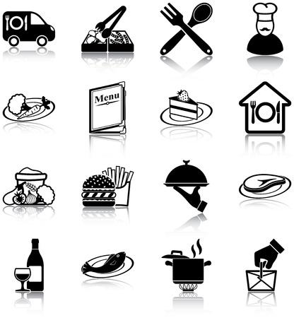 serveur avec plateau: ic�nes des restaurants Illustration