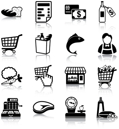 supermarket cash: Grocery related icons