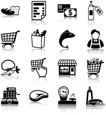cassa supermercato: Relative icone di alimentari
