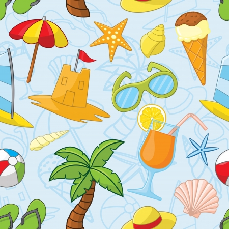 Summer related seamless pattern Vector