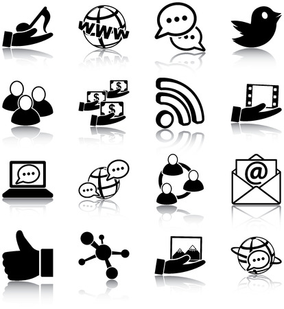 thumbs up group: Social media related icons Illustration