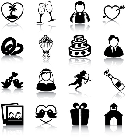 Wedding related icons Vector