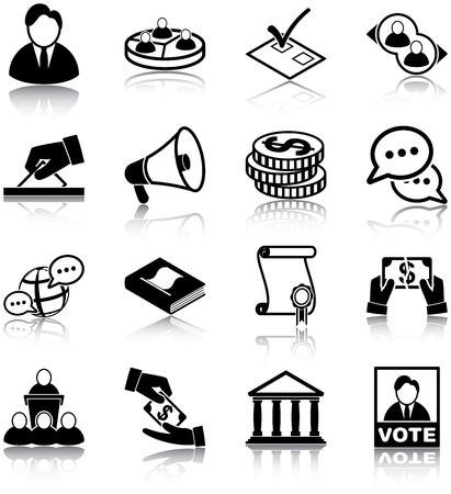 political rally: Политика, связанных иконки Иллюстрация