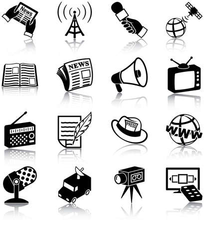 Mass media related icons Vector