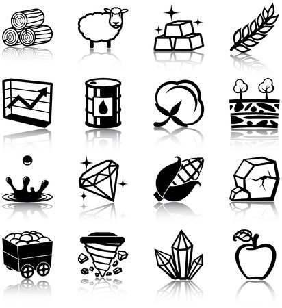 Natural resources related icons Vector