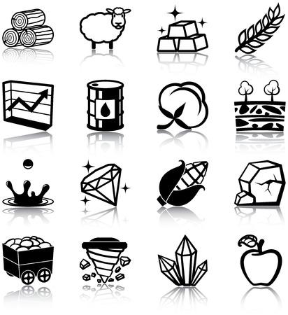Natuurlijke hulpbronnen gerelateerde pictogrammen
