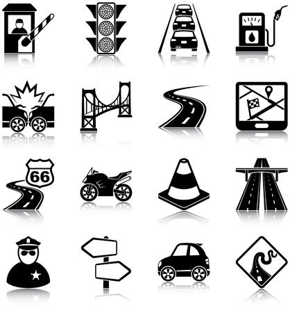 交通: 道路交通のアイコン  イラスト・ベクター素材