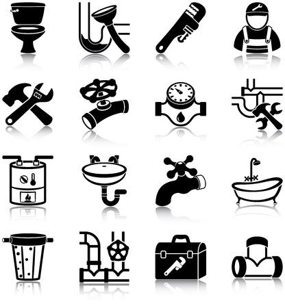 aguas residuales: Iconos Plomería Vectores