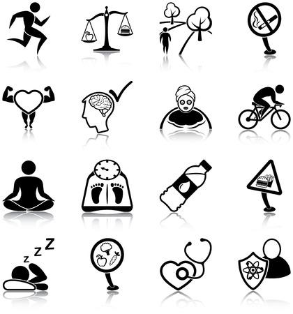 Iconos de estilo de vida saludables Foto de archivo - 31875436